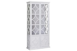 White Wash Wood + Glass Tall Cabinet