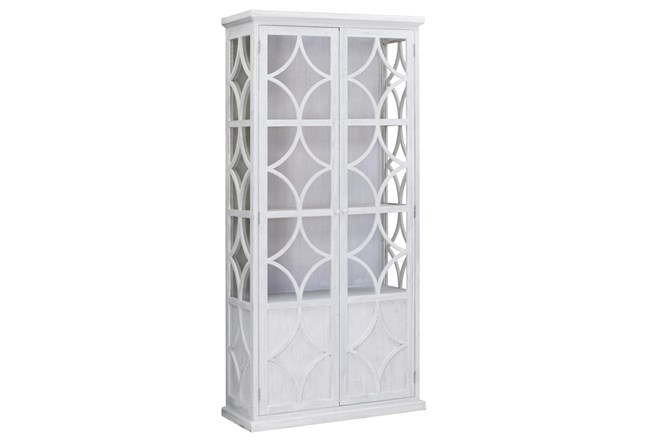 White Wash Wood + Glass Tall Cabinet  - 360