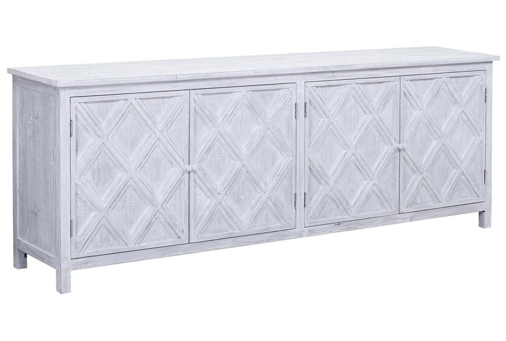 "White Wash Reclaimed Pine Diamond Pattern 94"" Sideboard"