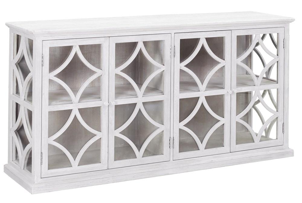 "White Wash Wood + Glass 72"" Sideboard"