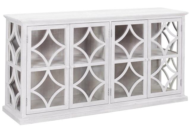 "White Wash Wood + Glass 72"" Sideboard  - 360"