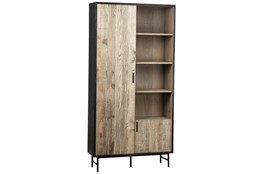 Black + Light Oak Tall Cabinet