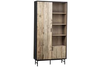 Black + Light Oak Tall Cabinet