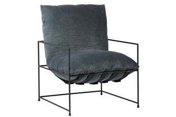 Grey Velvet Sling Back Accent Chair