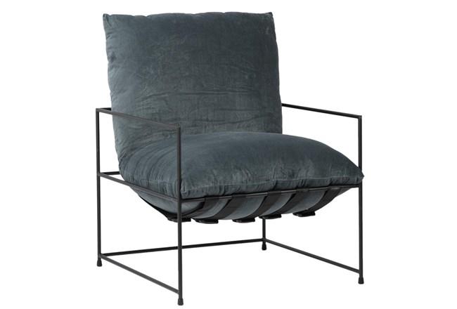 Grey Velvet Sling Back Accent Chair  - 360