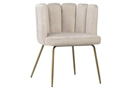 Beige Scallop Back Dining Chair