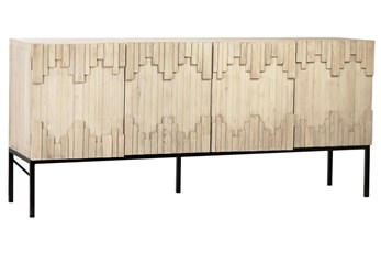 "Blonde Recycled Pine Textured 79"" Sideboard"