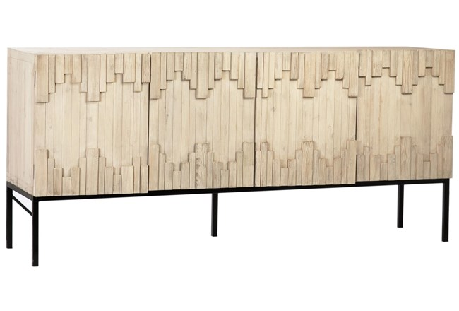 """Blonde Recycled Pine Textured 79"""" Sideboard  - 360"""