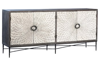 "Recycled Dark Elm + Metal Starburst 79"" Sideboard"
