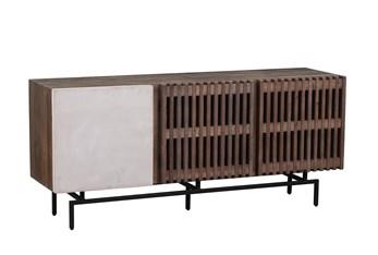 Brown + White 2 Tone Shutter Door Cabinet