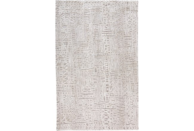 114X162 Rug-Micro Fiber Tribal Abstract Grey - 360