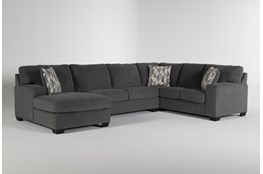 "Bryton Charcoal 3 Piece 141"" Sectional With Left Arm Facing Chaise"