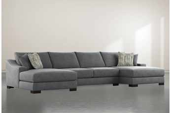 Lodge Charcoal 3 Piece Sectional With Double Chaise