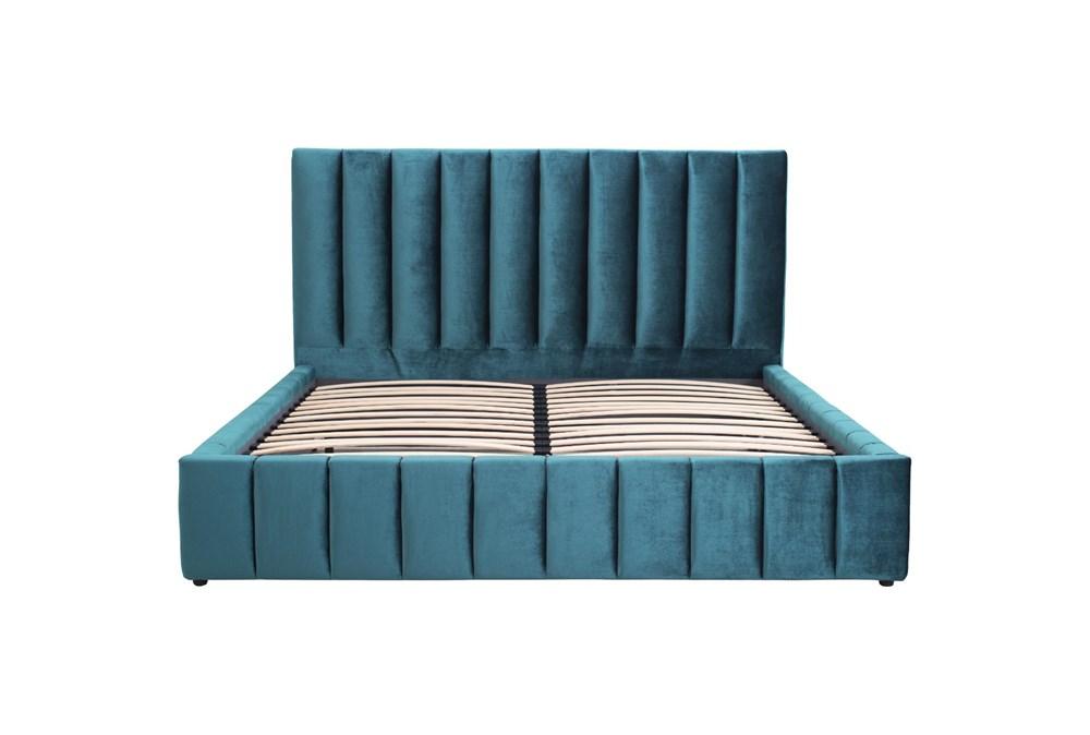 Peacock Velvet Upholstered Channel Eastern King Bed