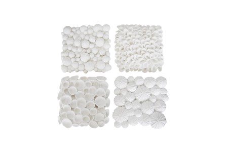White Coral Wall Plaque Assortment Of 4