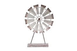 Wide Metal Windmill On Stand