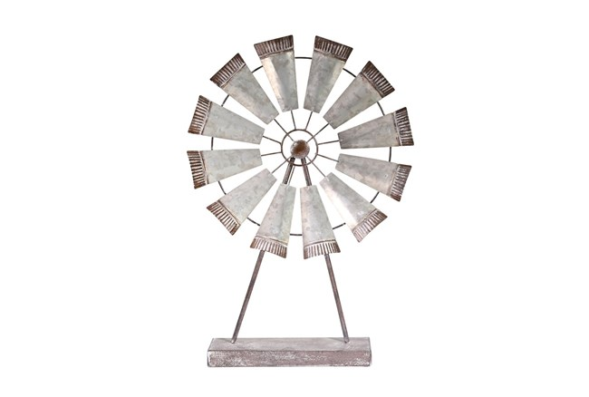 Wide Metal Windmill On Stand  - 360