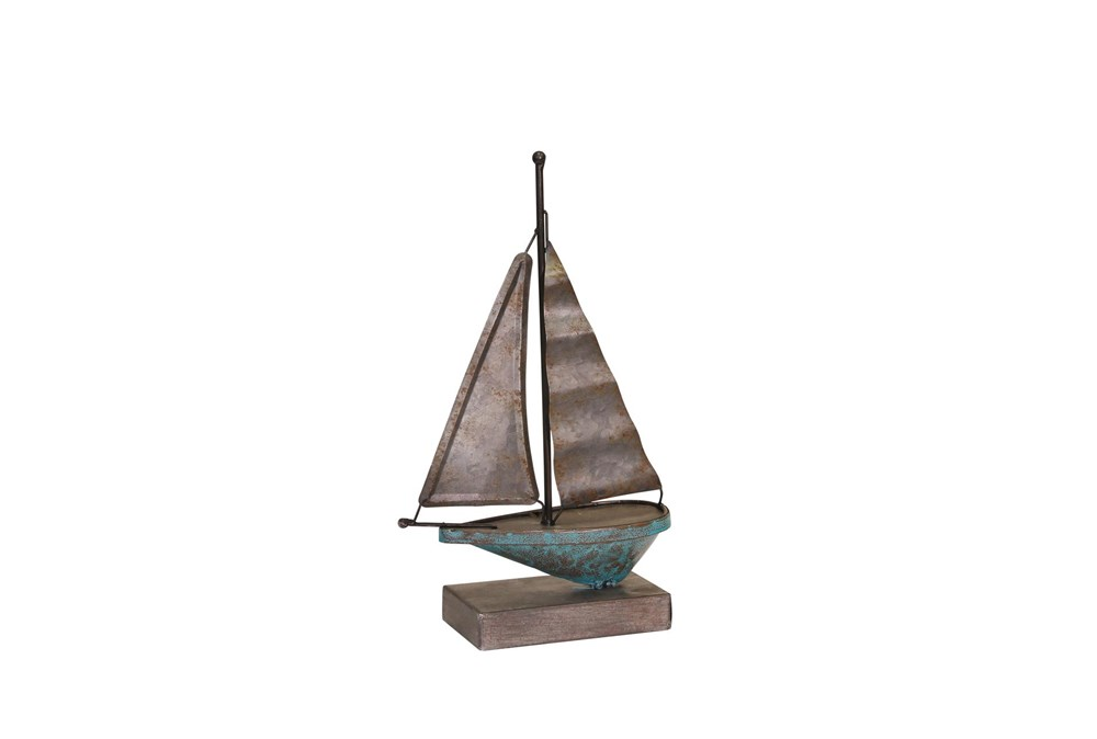 Teal Galvanized Metal Sailboat