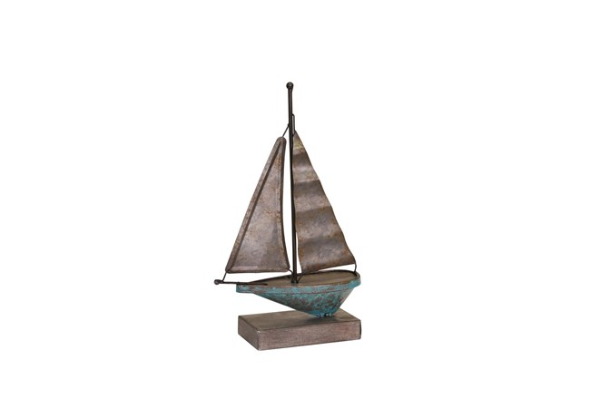 Teal Galvanized Metal Sailboat  - 360
