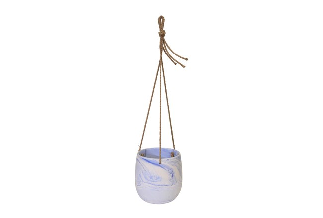 Blue Hanging Marble Planter - 360