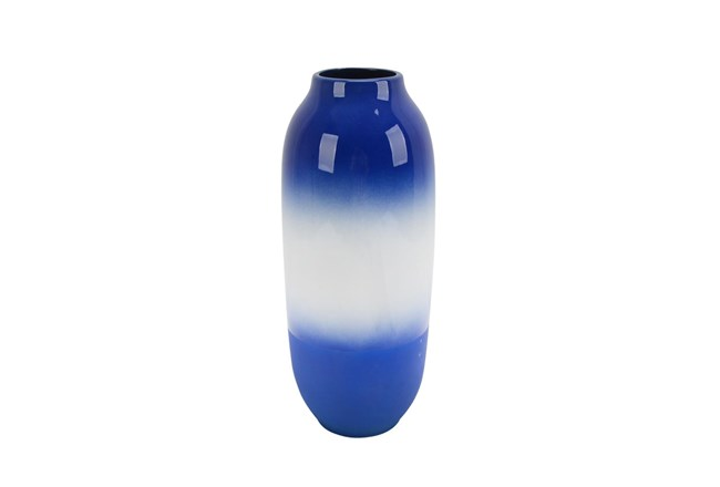 15 Inch Blue And White Vase  - 360