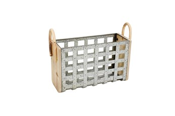 Squared Tin Woven Basket Wooden Handles