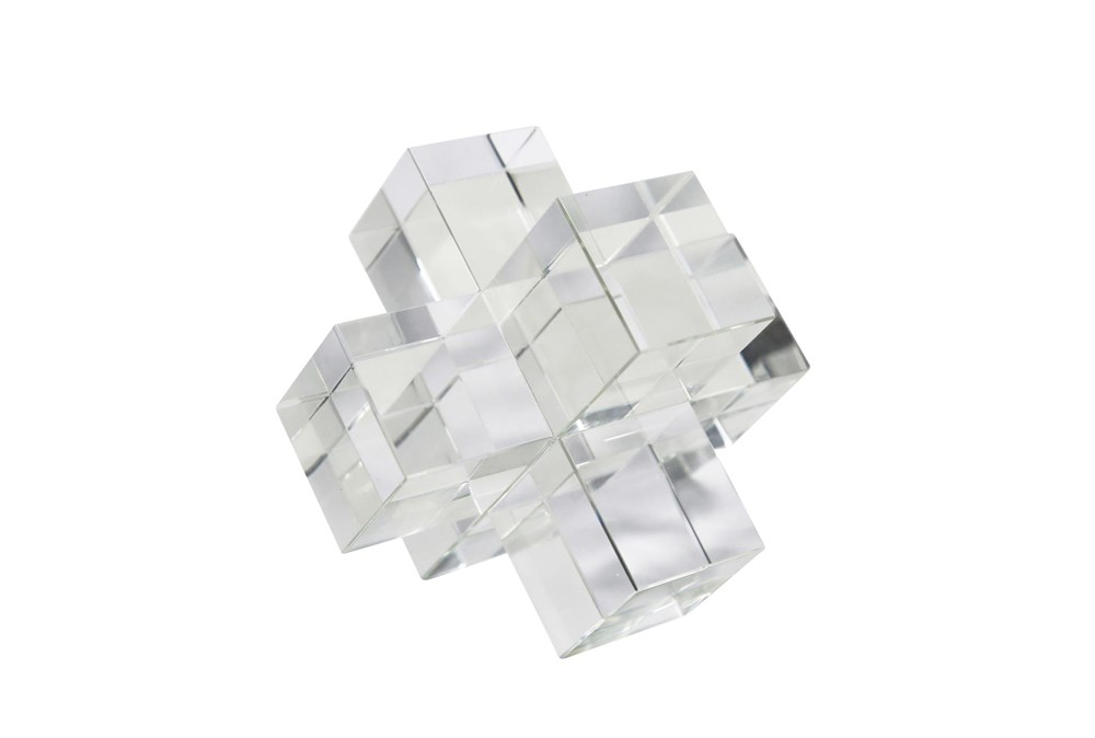 6 Inch Clear Crystal Jacks Sculpture