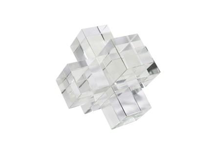 6 Inch Clear Crystal Jacks Sculpture - Main