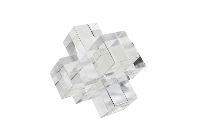 6 Inch Clear Crystal Jacks Sculpture - 360