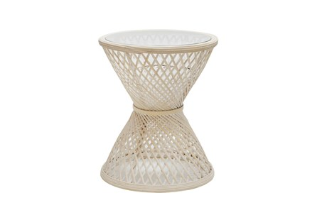 "Accent Table With Glass Top 20"", Rattan, Natural"