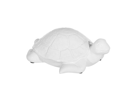 4 Inch White Ceramic Turtle