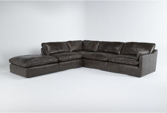 "Marcello Leather 5 Piece 127"" Sectional With Right Arm Facing Chair - 360"