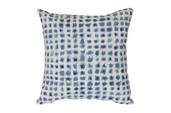 Outdoor Accent Pillow-Navy Tie Dye Dots 16X16