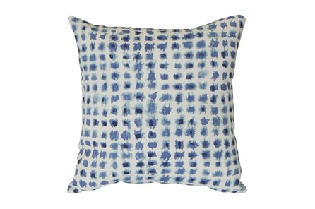 Outdoor Accent Pillow-Navy Tie Dye Dots 16X16 - Main