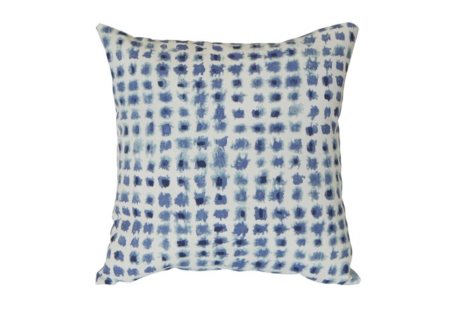 Outdoor Accent Pillow-Navy Tie Dye Dots 16X16 - 360