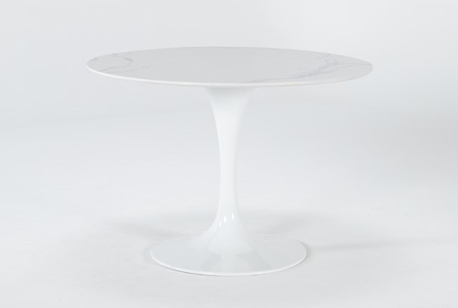 Vera Round White Marble Dining Table - 360