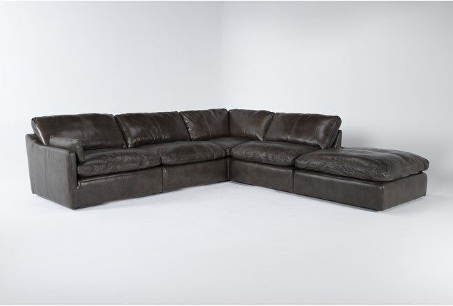 """Marcello Leather 5 Piece 127"""" Sectional With Left Arm Facing Chair - 360"""