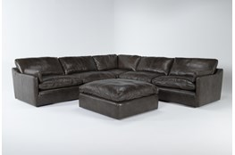 "Marcello Leather 5 Piece 127"" Sectional With Ottoman"
