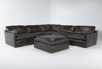 """Marcello Leather 5 Piece 127"""" Sectional With Ottoman"""