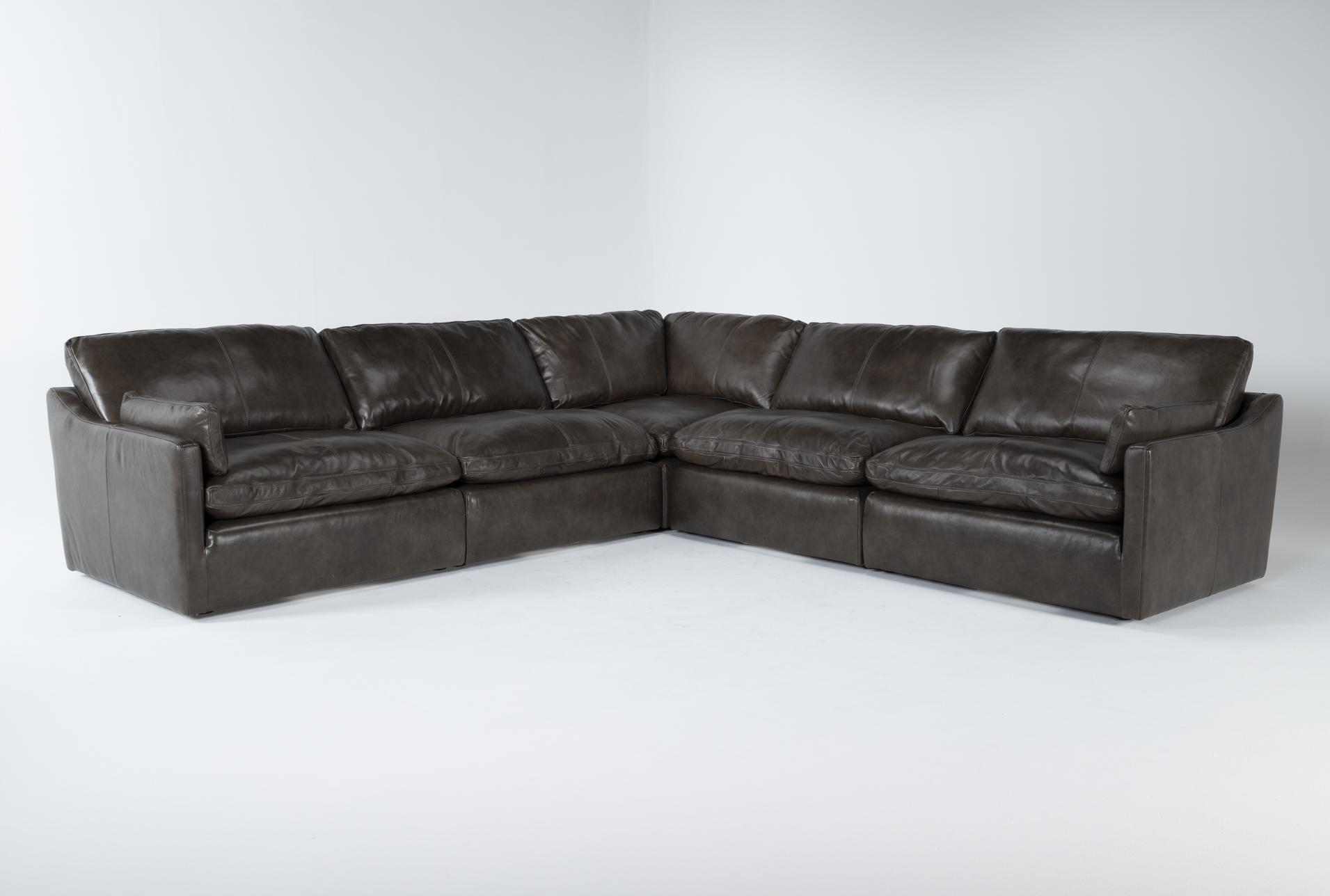 Marcello Leather 5 Piece 127 Sectional Living Spaces