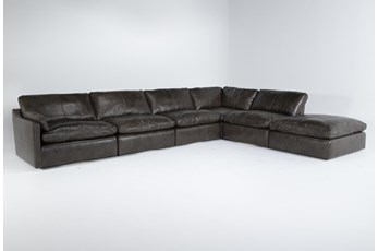 Marcello Leather 6 Piece Sectional With Left Arm Facing Chair