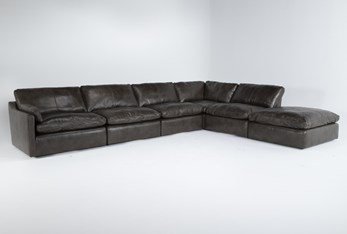 """Marcello Leather 6 Piece 168"""" Sectional With Left Arm Facing Chair"""