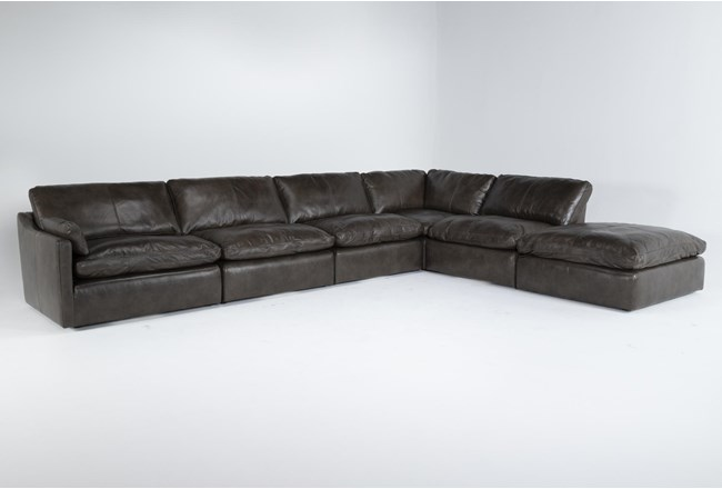 """Marcello Leather 6 Piece 168"""" Sectional With Left Arm Facing Chair - 360"""