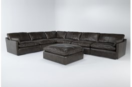 "Marcello Leather 6 Piece 127"" Sectional With Ottoman"
