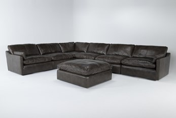 """Marcello Leather 6 Piece 127"""" Sectional With Ottoman"""