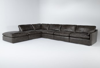 """Marcello Leather 6 Piece 168"""" Sectional With Right Arm Facing Chair"""