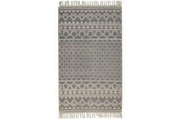 93X117 Rug-Textured Boho Grey/Ivory