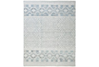 """2'5""""x10' Rug-Hand Knotted Wool Grey/Blue"""
