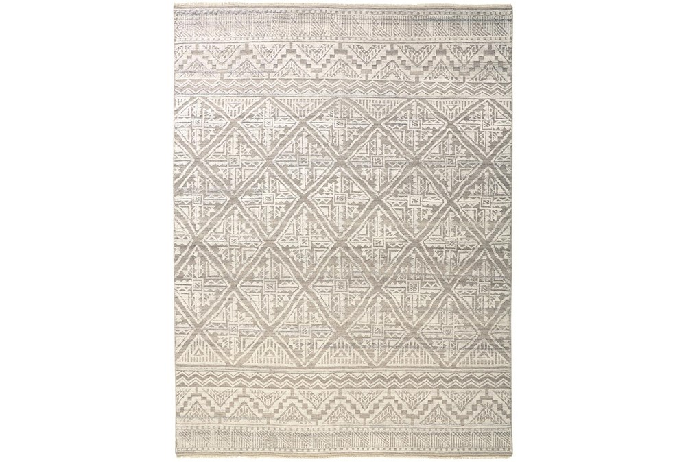 """7'8""""x9'8"""" Rug-Hand Knotted Wool Beige/Grey"""