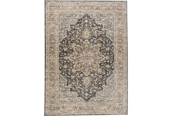 59X92 Rug-Traditional Medallion Grey/Charcoal - 360